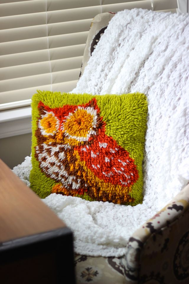 Owl pillow in desk chair